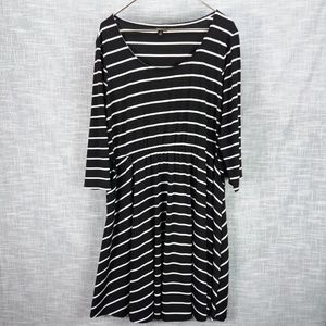 Torrid Striped Knit Skater Dress 3 3X Black White
